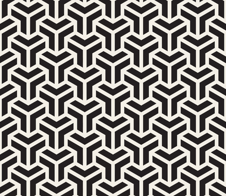 Vector Seamless Black And White Grid Pattern. Abstract Geometric Background Design Illustration