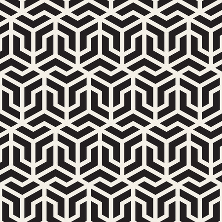 tessellation structure: Vector Seamless Black And White Grid Pattern. Abstract Geometric Background Design Illustration