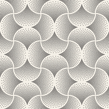 arc: Vector Seamless Black and White Arc Shape Stipple Halftone Pattern. Abstract Geometric Background Design