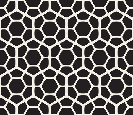 tessellation structure: Vector Seamless Black And White Hexagon Rounded Grid Pattern. Abstract Geometric Background Design