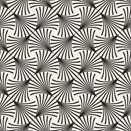 arc: Vector Seamless Black and White Arc Lines Grid Pattern. Abstract Geometric Background Design