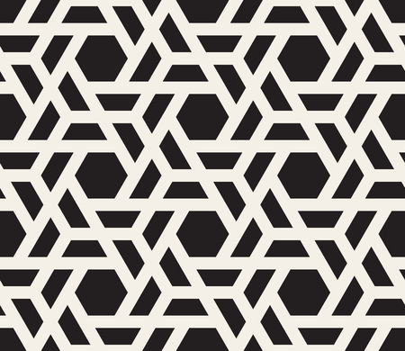 tessellation structure: Vector Seamless Black And White Hexagon Grid Pattern. Abstract Geometric Background Design Illustration