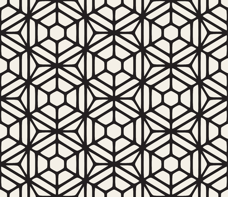 pavement: Vector Seamless Black And White Hexagon Rounded Grid Pattern. Abstract Geometric Background Design