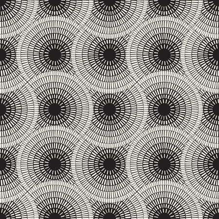 Vector Seamless Black and White Mosaic Pavement Pattern. Abstract Geometric Background Design