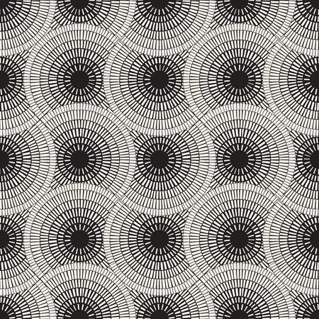 Vector Naadloos Zwart-wit Mozaïek Bestrating Patroon. Abstracte Geometrische Achtergrond Design