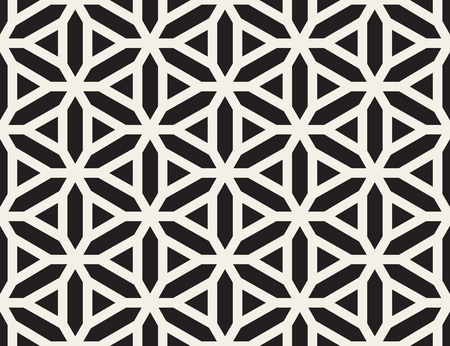 Vector Seamless Black and White Lines Grid Pattern. Abstract Geometric Background Design