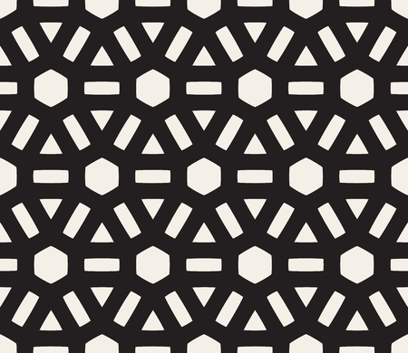tessellation structure: Vector Seamless Black and White Lines Grid Pattern. Abstract Geometric Background Design