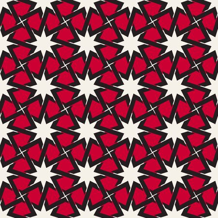 black white red: Vector Seamless  Black White Red Color Islamic Interlacing Line Star Geometric Pattern Abstract Background