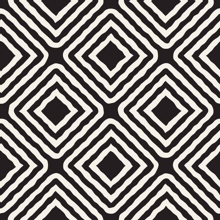 Vector Seamless Black and White Hand Drawn Rhombus Lines Pattern. Abstract Freehand Background Design