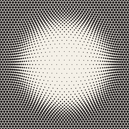 bloat: Halftone Circles Bloat Effect Frame. Abstract Geometric Background Design. Vector Seamless Black and White Pattern.
