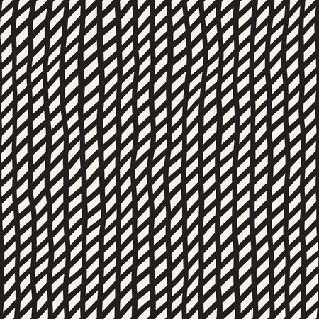 slanted: Wavy Hand Drawn Slanted Lines. Abstract Geometric Background Design. Vector Seamless Black and White Pattern. Illustration