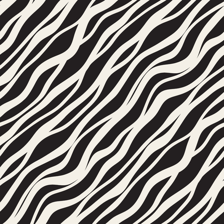 Vector Seamless Black and White Hand Drawn Diagonal Wavy Lines Pattern. Abstract Freehand Background Design