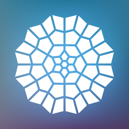 Vector Decorative White Kaleidoscope Mandala Ornament Illustration on Colorful Gradient Background. Abstract Decorative Design Element