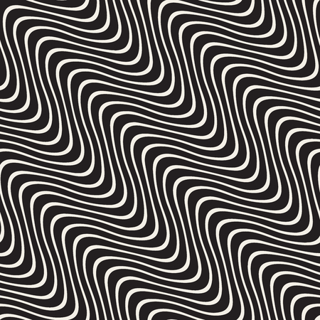 black lines: Hand Drawn Wavy Diagonal Lines. Abstract Geometric Background Design. Vector Seamless Black and White Pattern.