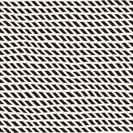 hatchwork: Wavy Hand Drawn Slanted Lines. Abstract Geometric Background Design. Vector Seamless Black and White Pattern. Illustration