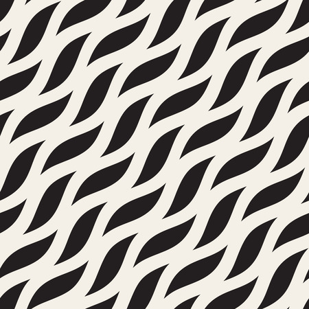 Vector Seamless Diagonal Wavy Shapes Pattern. Abstract Geometric Background Design.