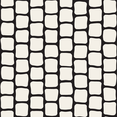 Vector Seamless Black and White Hand Drawn Rectangles Pattern. Abstract Freehand Background Design