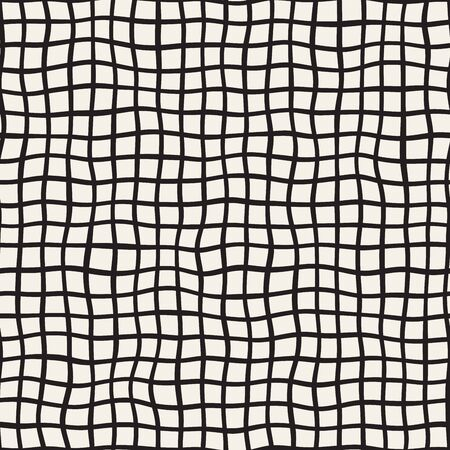 hatchwork: Wavy Hand Drawn Lines Square Grid. Abstract Geometric Background Design. Vector Seamless Black and White Pattern. Illustration