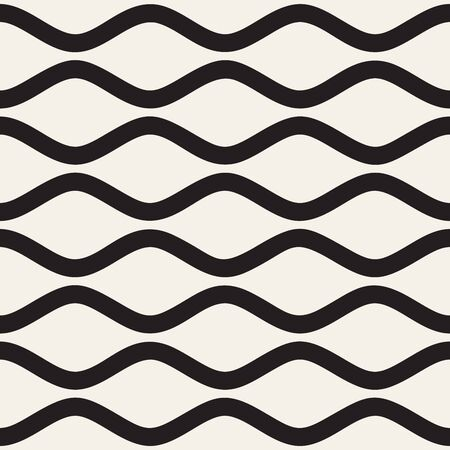 billowy: Vector Seamless Black and White Horizontal Wavy Stripes Pattern. Abstract Geometric Background Design. Illustration