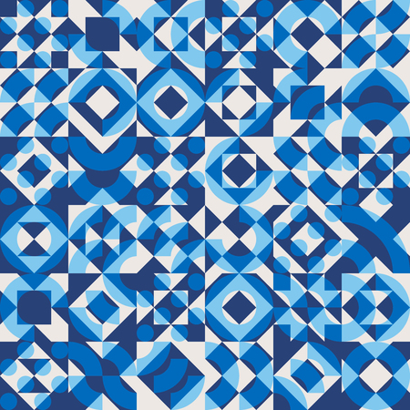 Vector Seamless Navy Blue Color Overlay Irregular Geometric Blocks Square Quilt Pattern Abstract Background