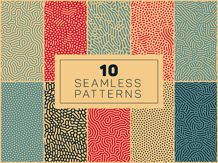 Set of Ten Vector Seamless Organic Rounded Lines And Drips Biological Patterns In Blue Red and Tan Colors Abstract Background