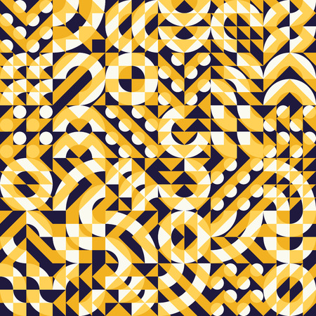 Vector Seamless Yellow Navy Color Overlay Irregular Geometric Blocks Square Quilt Pattern Abstract Background