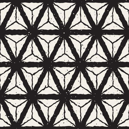 Vector Seamless Black And White Hand Painted Triangles Geometric Grid Retro Pattern Abstract Background