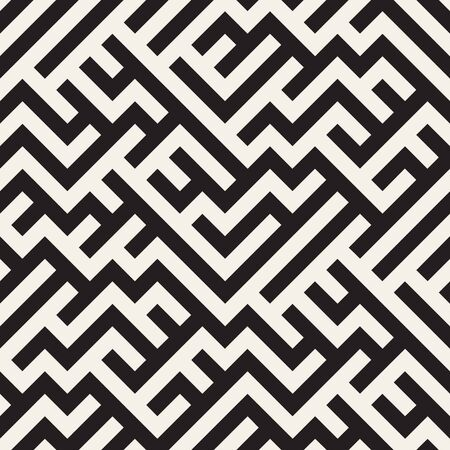 stripped: Irregular Maze Line. Abstract Geometric Background Design. Vector Seamless Black and White Pattern.