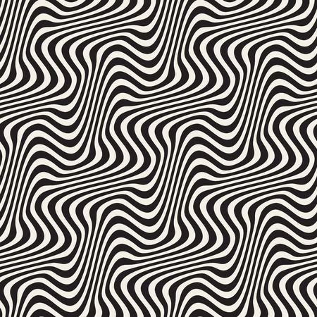 billowy: Wavy Ripple Lines. Abstract Geometric Background Design. Vector Seamless Black and White Pattern.