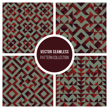 Set of Four Vector Seamless Dark Red Brown Truchet Geometric Pattern Collection Tiling