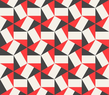 Vector Seamless Black Red White Hexagonal Triangles Rectangles Pattern Abstract Background