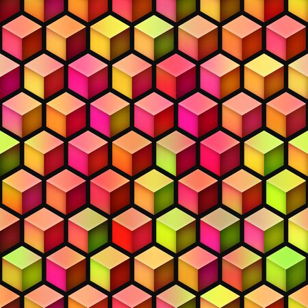 Gradient Cubes Tiling. Abstract Geometric Background Design. Seamless Multicolor Pattern