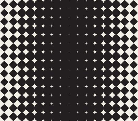 ベクトル シームレスな黒と白の星ハーフトーン グリッド グラデーション パターンの幾何学的な抽象的な背景をモーフィング