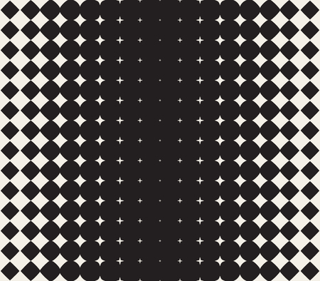 Vector Seamless Black and White Morphing Star Halftone Grid Gradient Pattern Geometric Abstract Background