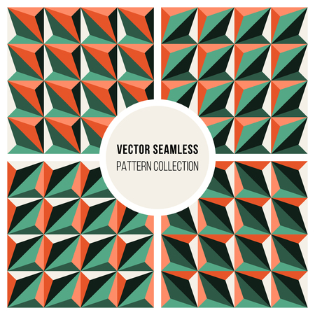 Set of Four Vector Seamless Geometric Triangle Patterns in Green and Orange Shading Abstract Background