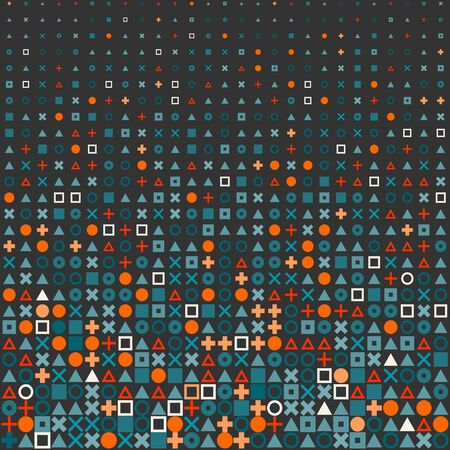fading: VectorCircle Square Cross Shapes Halftone Grid Pattern In Red Orange and Blue on Dark Abstract Background