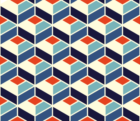 blocky: Vector Seamless Geometric Tiling Pattern In Blue and Orange Colors With White Outline Abstract Background