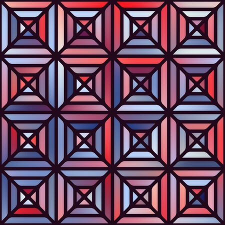 blocky: Vector Seamless Gradient Mesh Square Blocks Pavement in Shades of Blue and Red With Black Outline Abstract Background Illustration