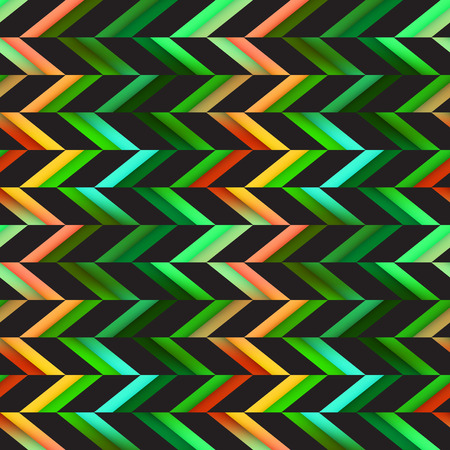 Vector Seamless Colorful Pink Green Shades Geometric Chevron Tiling Pattern on Checker Dark Abstract Background