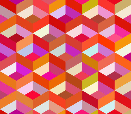 blocky: Vector Seamless Colorful Vivid Geometric Blocks Isometric Tiling Pattern Abstract Background