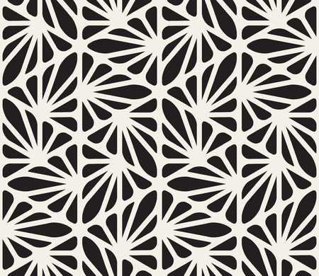 Vector Seamless Black and White Floral Organic Triangle Lines Hexagonal Geometric Pattern Abstract Background