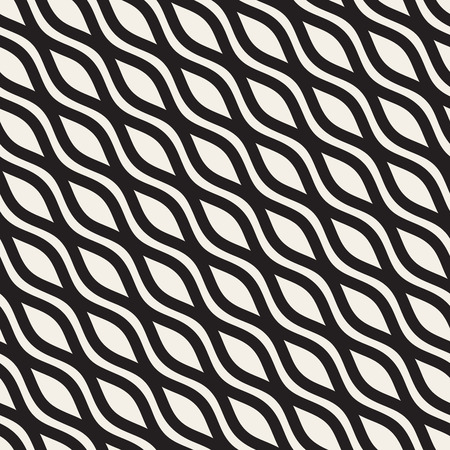billowy: Wavy Ripple Lines. Vector Seamless Black and White Pattern. Illustration