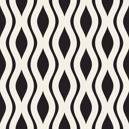 Wavy Ripple Lines. Vector Seamless Black and White Pattern. Illustration
