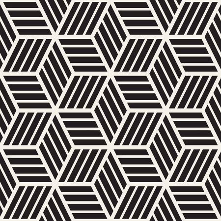 Cubic Grid Tiling Endless Stylish Texture. Abstract Geometric Background Design. Vector Seamless Black and White Pattern. Illustration