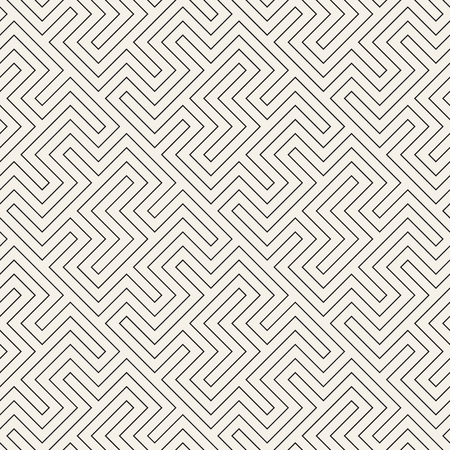 Maze Tangled Lines. Abstract Geometric Background Design. Vector Seamless Black and White Pattern.