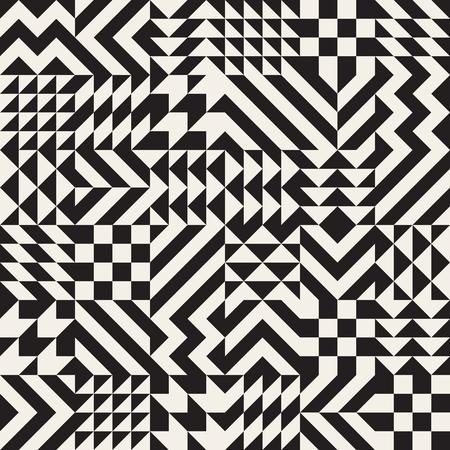 generative: Vector Seamless Black and White Irregular Geometric Triangle Rhombus Blocks Pattern Abstract Background