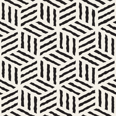 Vector Seamless Black And White Hand Painted Line Geometric Stripes Cube Pattern Abstract Background Çizim