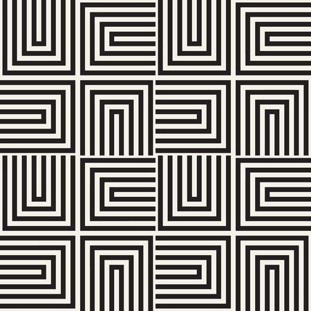 幾何学的な繰り返しは、タイリングをストライプします。観賞用のスタイリッシュなテクスチャです。シームレスな白黒パターン ベクトル 写真素材 - 73600121