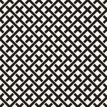 Weave Seamless Pattern. Stylish Repeating Texture. Braiding Background of Intersecting Stripes Lattice. Black and White Geometric Vector Illustration. Ilustração