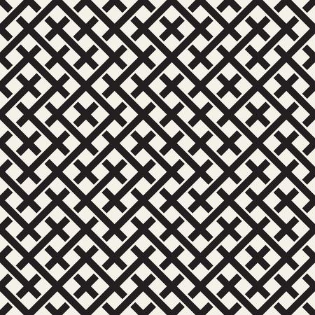 Weben Sie nahtloses Muster. Stilvolle Wiederholung Textur. Geflecht Hintergrund der schneidenden Streifen Gitter. Schwarz-Weiß-Geometrische Vektor-Illustration. Vektorgrafik